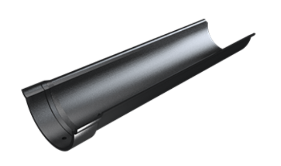 black aluminium gutter in half round style