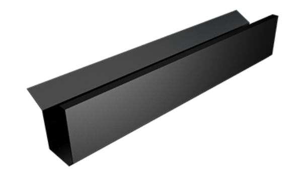 an aluminium box gutter in black