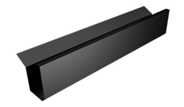 an aluminium box gutter in black